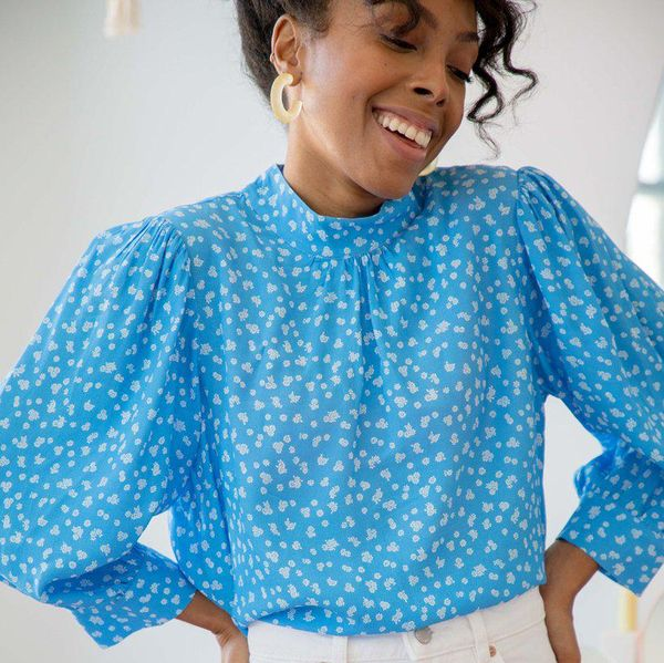 blue and white summer blouse