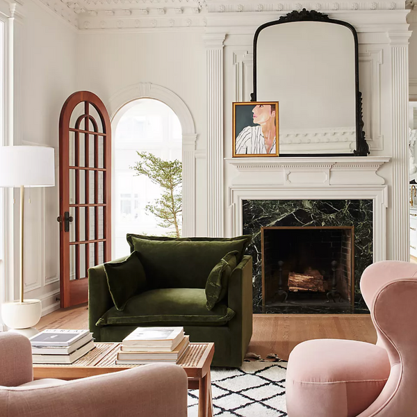 arched mirror in living room