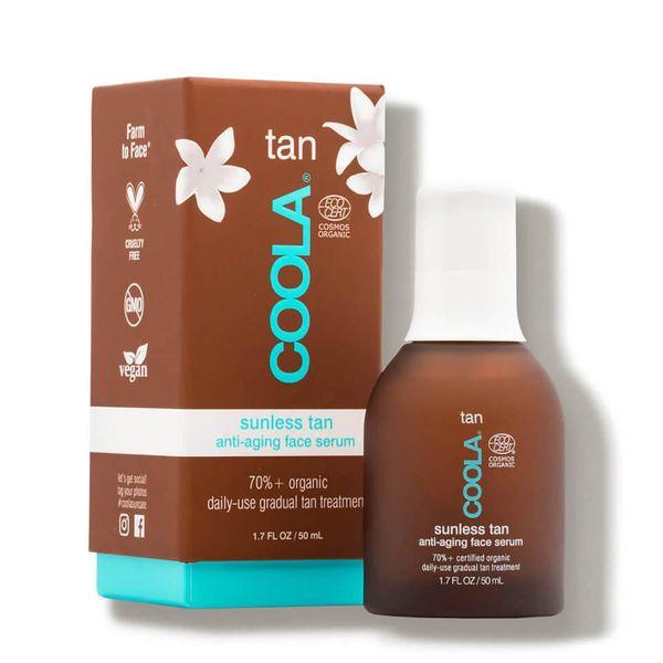 brown and teal COOLA Organic Sunless Tan Anti-Aging Face Serum