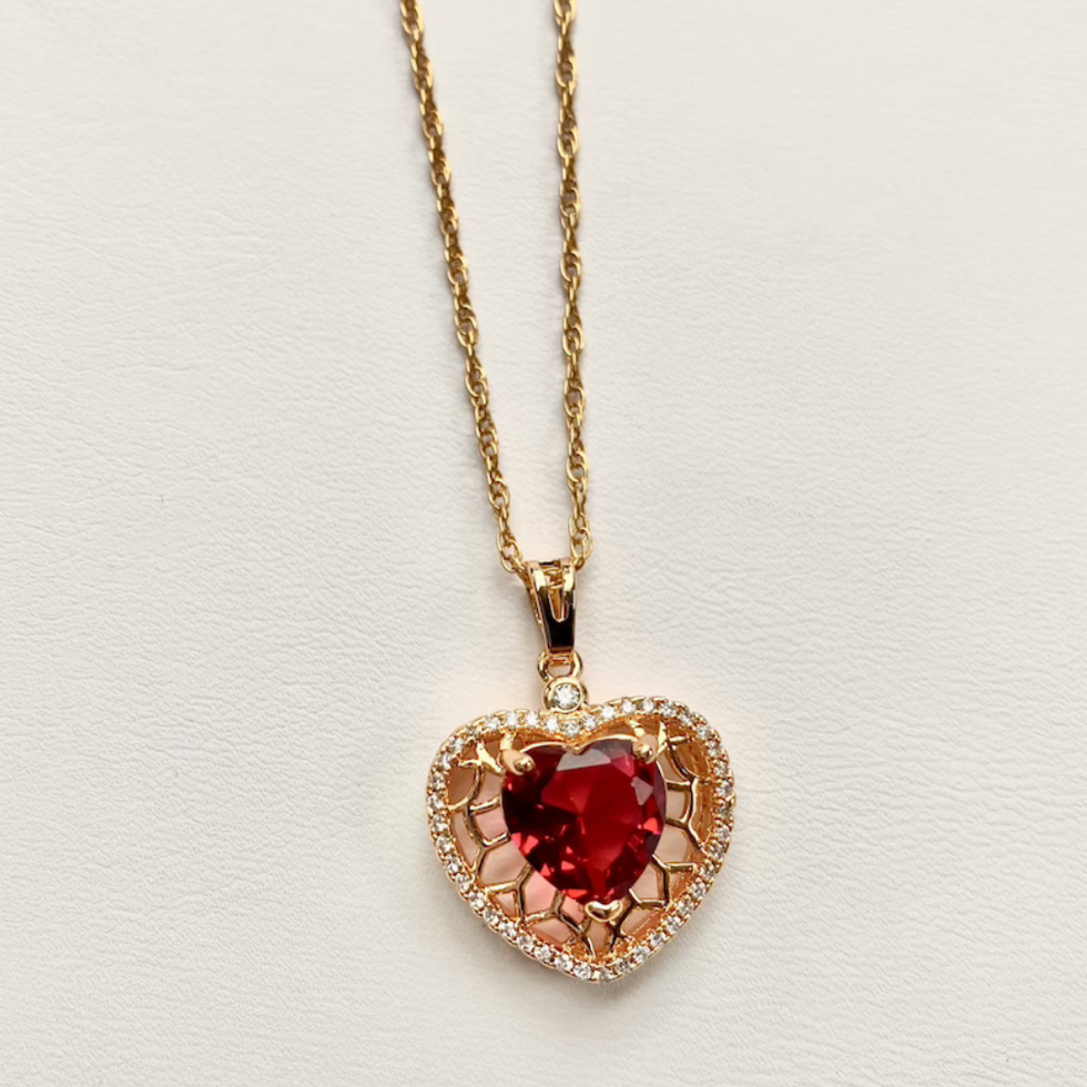 u200bEtsy Pave Ruby Heart Necklace