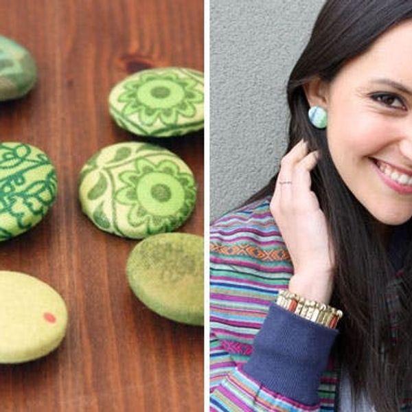 Cute as a Button! Easy DIY Fabric Button Earrings
