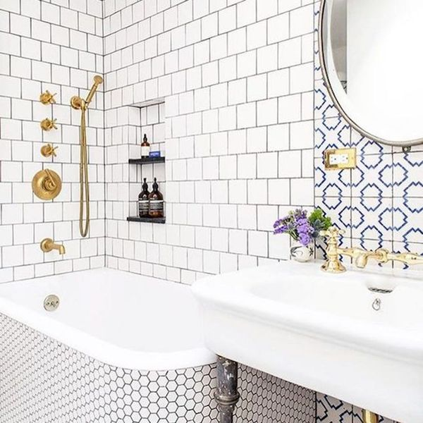 Freshen Up Your Bathroom in 2017 With This Mixed Tile Trend