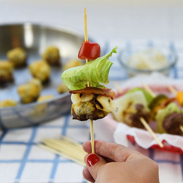 These Bunless Skewer Burgers Will Make Labor Day Hosting a Breeze