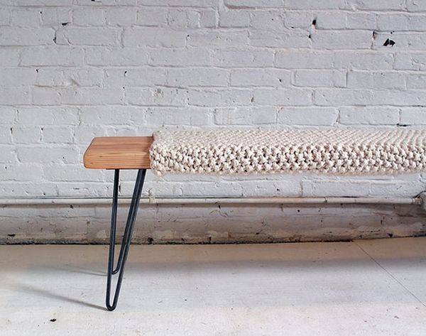 Make This Knitted Wool and Wood Bench for Just $85