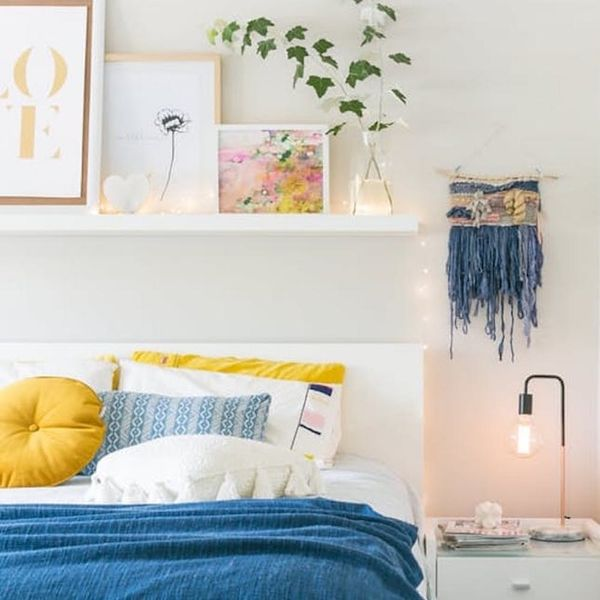 This floating shelf above bed idea is just one of 20 shelves above bed